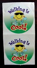 2 VINTAGE WALKING IS COOL! SMILEY HAPPY FACE SEALS TEACHER PE EXERCISE STICKERS!