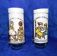 """Two Coca-Cola Holly Hobbie """"Happy Talk"""" Glasses 5 7/8"""" Tall ~ American Greetings"""