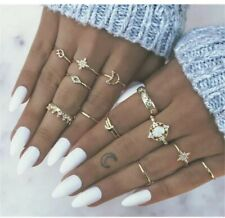 13 Pcs/set Gold Midi Finger Ring Set Vintage Punk Boho Knuckle Rings Jewelry