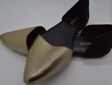 Lane Bryant Beautiful Black & Gold Flat Dress Shoes Size 9W #56