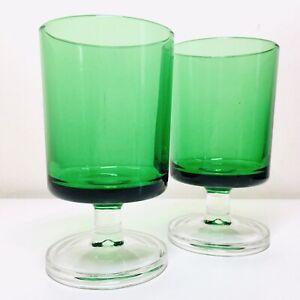 Pair Mid Century Green & Clear Glass Stem Luminarc Drinking Wine Glasses France