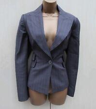 Exquisite Karen Millen Grey Pinstripe Wool Tailored Classic Blazer Jacket 12 UK