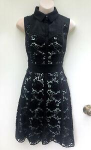 KAREN MILLEN Stunning Black Cotton & Silk Lace A-Line Collared Dress UK 12/Au 10