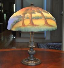 Antique Arts and Crafts Reverse Painted Lamp Wooden Lake Scene
