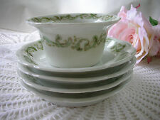 Vintage Bassett Limoges Ramekin Custard Pudding Dessert Cup 4 Plate Green Floral