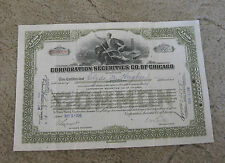 Corporation Securities Co. of Chicago stock certificate 1930