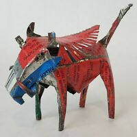 Folk Art Wart Hog Vintage Aluminum Can Hand Crafted Colorful Small Figure