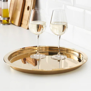 IKEA Round Serving Tray Food Breakfast Kitchen Coffee Tea Table Handle Gold 38cm