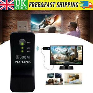 UK Samsung Capable Smart TV LAN Adapter Ethernet WiFi Wireless Dongle 300M RJ-45