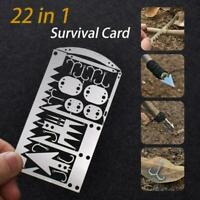 22IN1 Multi Tool Card survival Wallet sized Camping Gear Hiking Emergency E X1V6