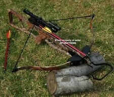 180LB CAMO HUNTING CROSSBOW + LASER + 4X20 SCOPE + BOLTS + BROADHEADS