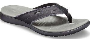 Mens CROCS Santa Cruz Canvas Vegan Flip Flop Sandals, Black, Khaki, Brown , Blue