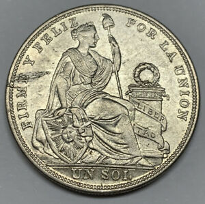 1924/824 Peru Un Sol XF Detail Lamination Defect Silver Coin KM 218.1 Overdate