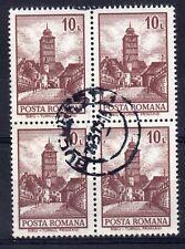 ROMANIA = 1972 Buildings. 10L Sibiu Tower. SG3943. `SON` Block of 4. Used. (c)