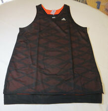 Adidas ABL Reversible Tank top shirt L lrg Men's NWT active Black Solred AP0186