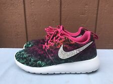 EUC NIKE ROSHE RUN US 2Y EUR 33.5 PALM TREE FLORAL 677784-602 GS PINK YOUTH