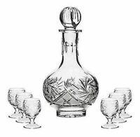 Russian Cut Crystal Glass Decanter & Set of 6 Vodka Shot Glasses USSR Glassware