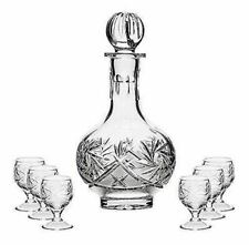 Russian Cut Crystal Glass Decanter & Set of 6 Vodka Shot Glasses Ussr Glassware