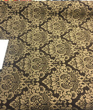 Chenille Upholstery Damask Dark brown gold Cleopatra fabric By The Yard