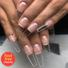 Gel X Nails Extension System Full Cover Sculpted Clear Coffin Medium Nail Tips