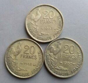 20 francs French 1950,1951,1953, VF