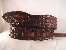 LEATHER BROWN GENUINE SALTWATER CROCODILE HORNBACK BASS, ACOUSTIC GUITAR STRAP