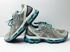 Asics Gel Nimbus 13 Womens Size 7.5 Running Shoes Silver White Blue Grey T192N