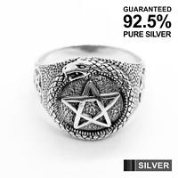 925 Sterling Silver Pentagram with Snake Gothic Ring ✔️Oxidised✔️Solid✔️UK