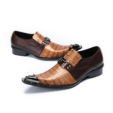 Genuine Leather Handmade Fashion British Business Suits Men's Shoes Gold Tip Toe