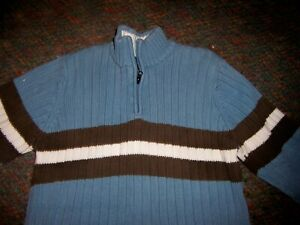 CHILDREN'S PLACE  1/4 Zip Blue/Brown/White Cotton Sweater - SIZE LARGE (10/12)