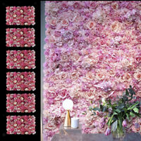 6x Silk Rose Flower Wall Panel Artificial Blossom Flower Wedding Background