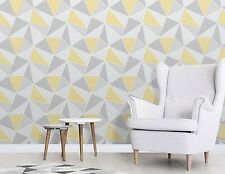 Fine Decor Apex Wallpaper Geometrictriangle Modern Pattern Yellow Grey Fd41991