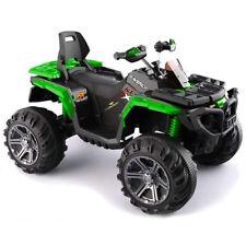Moto Elettrica Per Bambini Quad Passion 12V Ruote Motrici Verde Sedile in Pelle