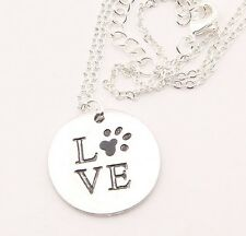 """LOVE"" Dog Paw Print, Silver Pendant Necklace, Gift Friend Animal Lover Partner"