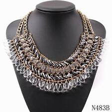 Chain String Braided Chunky Statement Crystal Pendant Necklace Choker For Women
