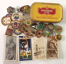 Erinmore Flake Tobacco Tin Cigarette Cards South African Bowls Badge Lot (B61)