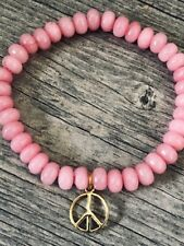 Yellow Gold Peace Sign Charm Rose Quartz Faceted Beads Healing Cystal Bracelet