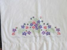 Shabby romantic chic violet flowers single pillowcase stamped to cross stitch