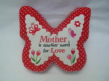 DECORATIVE MOTHER RED WHITE BUTTERFLY SCATTER PILLOW CUSHION