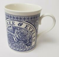 Crabtree & Evelyn Bone China Cup Mug Blue White Floral England