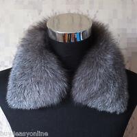 """Natural Silver Fox Fur Big Size Collar Scarf Detachable 55cm/22"""" Fur Wraps Cape"""