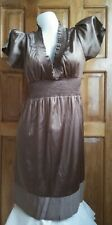 DressNStyle NWOT Sexy BCBGMAXAZRIA in Mocha Brown Silky Satin Mini Casual Dress