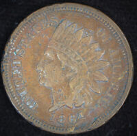 1864 Indian Head Cent, Bronze, Extremely Fine Details, Rim Dings, C4672