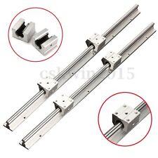 2x SBR12-600mm 12MM Fully Support Linear Rail Shaft Rod + 4pc SBR12UU Block