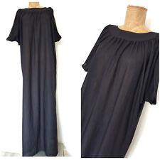 Vintage 80s Kimono Kaftan Dress Size XLarge Black Sheer Caftan Muumuu Gown