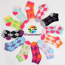 Lot of 12 Pairs New Cotton Women's Girls Argyle Ankle Low Cut Socks 9-11 ms60190