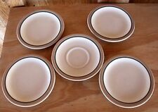 Syracuse China RestaurantWare Tan Band Thin Green Band 4 Bread Plates 1 Saucer