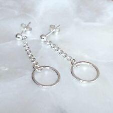 Silver Karma Earrings - Sterling Eternity Infinity Circle Ring Drop Chain Studs