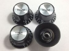 Volume Tone Control Bell Hat BLACK Knob Silver Insert USA Gibson Guitar CTS Pot