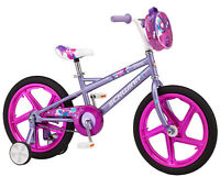 "18"" Schwinn Shine Girl's Bike Training Wheels Included Rear Coaster Brakes Pink"